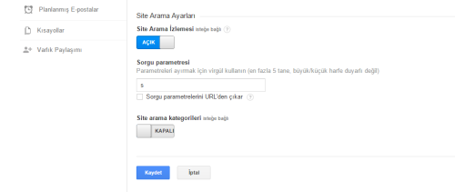 Google Analytics parametre