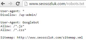 seosozluk robots dosyası