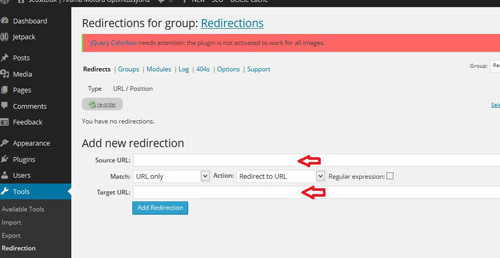 wordpress redirection eklentisi - 404 not found