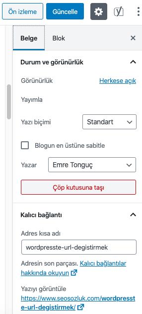 Wordpress URL Değiştirme