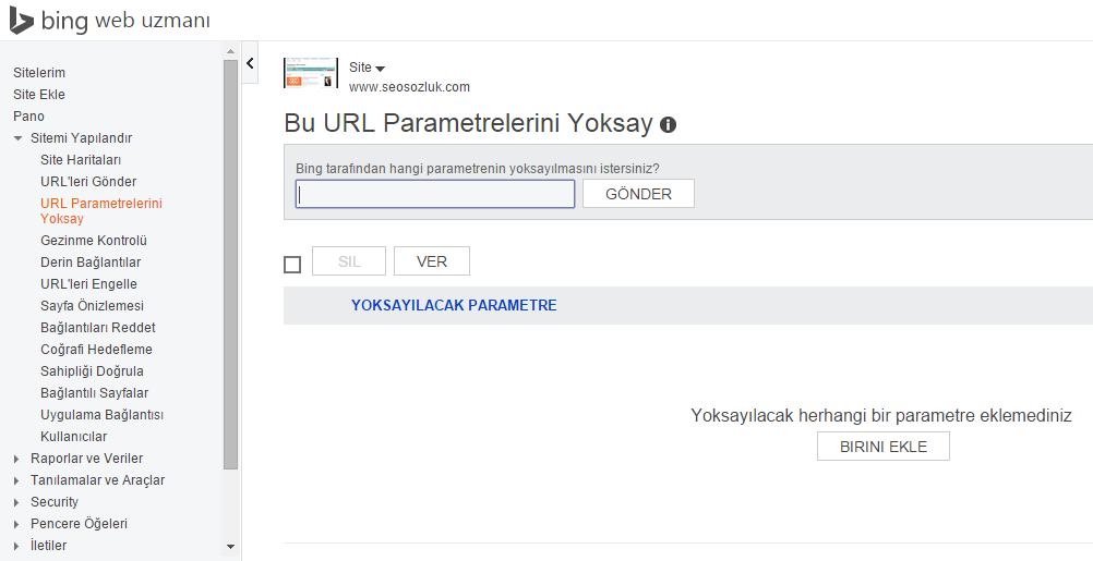 Bing URL Parametrelerini Yoksay