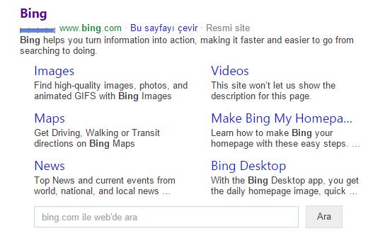 Bing derin bağlantılar