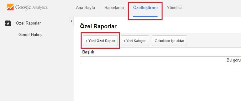 Google Analytics Özelleştirme - SEO Raporu