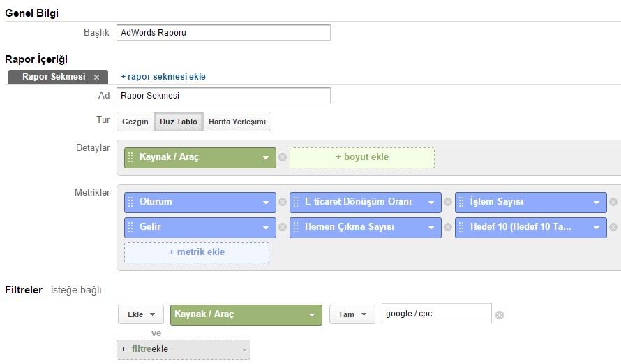 adwords raporu google analytics ayarları
