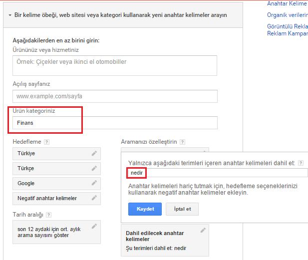 google anahtar kelime plalayıcısı filtrelenmiş sonuçlar