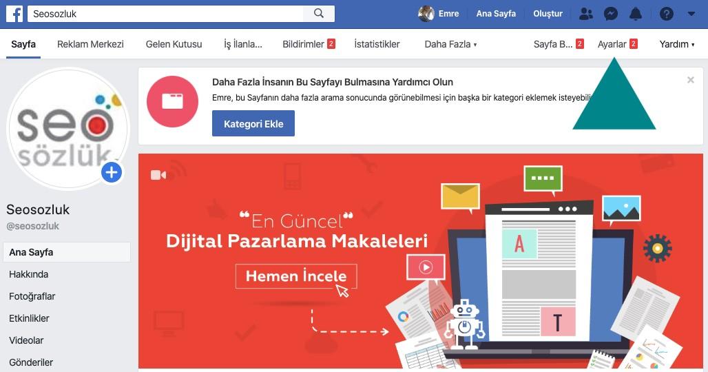 Facebook Sayfa Ayarları Nerede