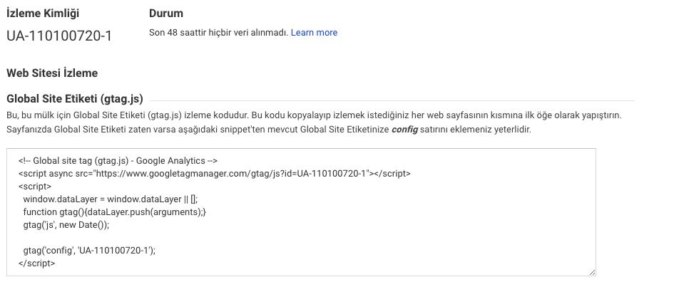 google analytics izleme kodu