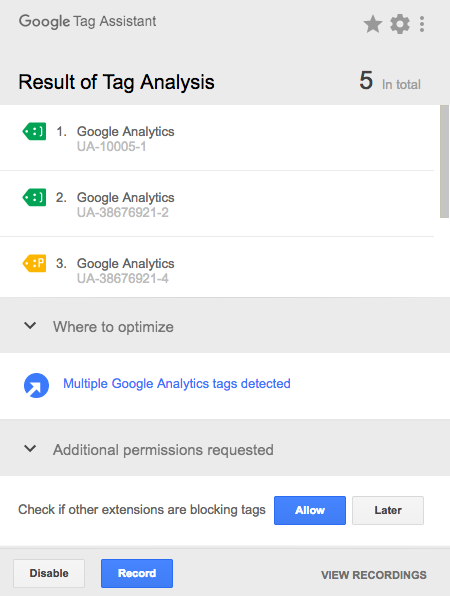 google tag assistance hatalar