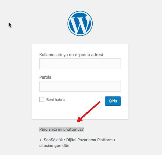 wordpress şifre sıfırla